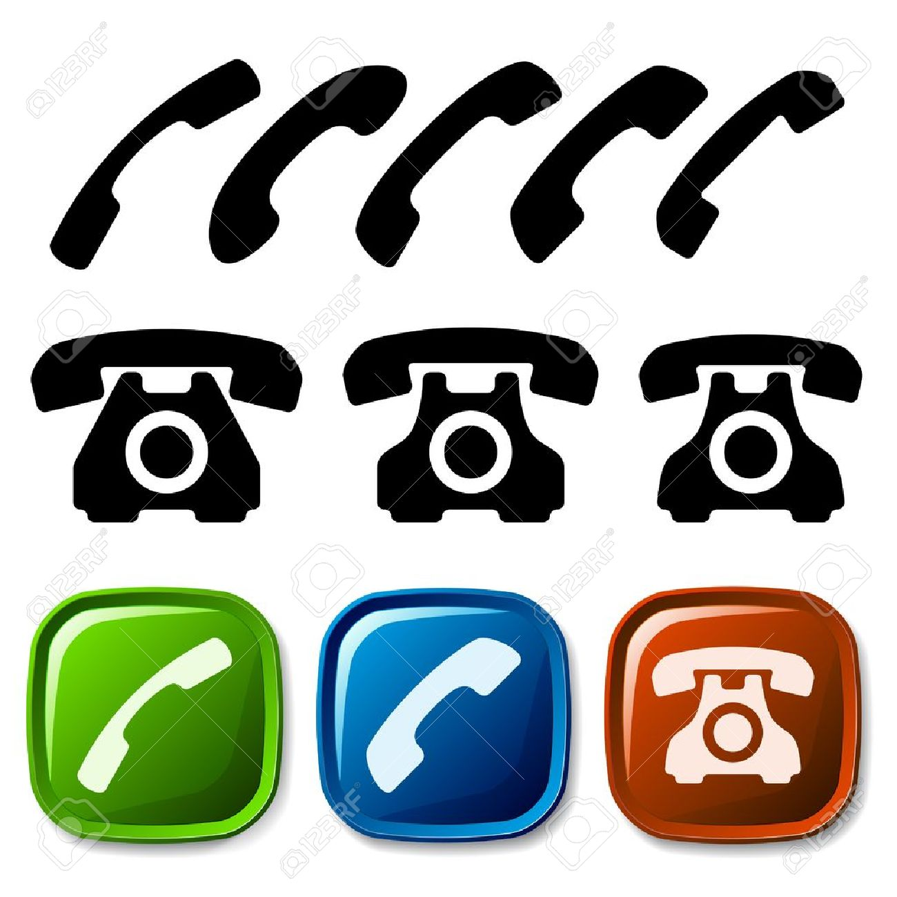 1300x1300 Vector Old Phone Icons Royalty Free Cliparts, Vectors, And Stock