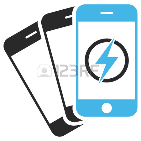 450x450 Electric Mobile Phone Icon Inside Rounded Rectangle Frame. Vector