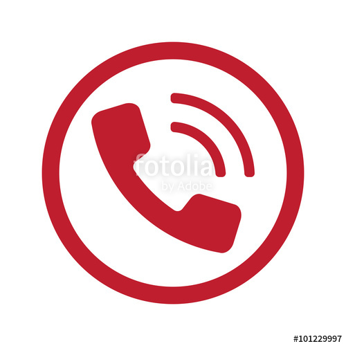 500x500 Flat Red Phone Icon In Circle On White Stock Image And Royalty