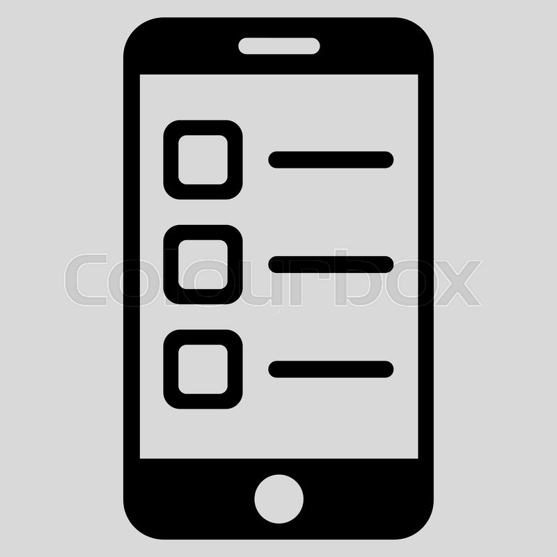 800x800 Mobile List Vector Icon. Style Is Flat Symbol, Black Color