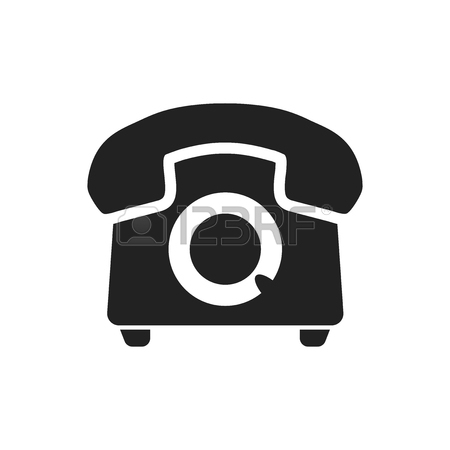 450x450 Phone Vector Icon. Old Vintage Telephone Symbol Illustration