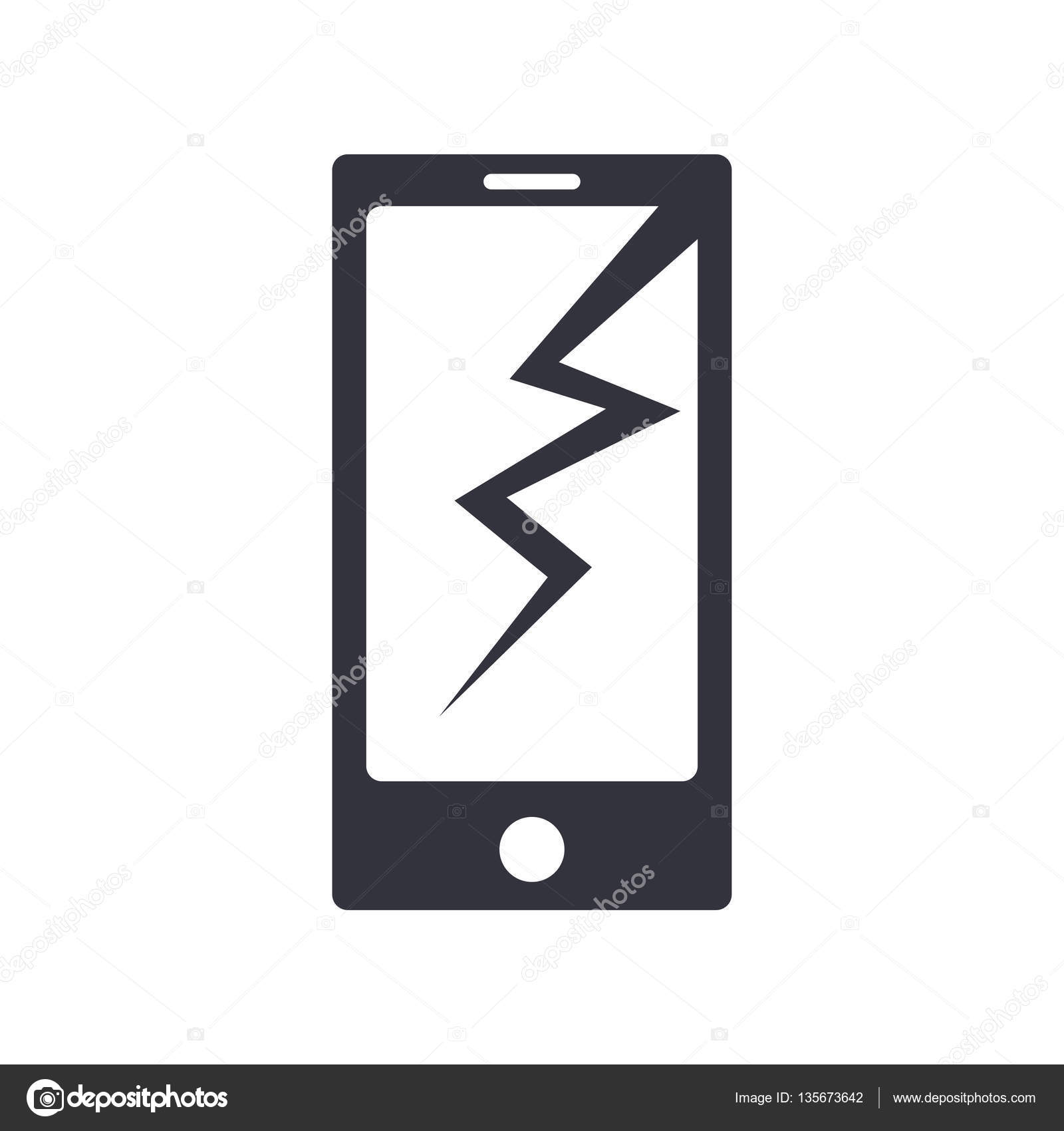 1600x1700 Phone Broken Simple Vector Icon. Stock Vector Liluydesign
