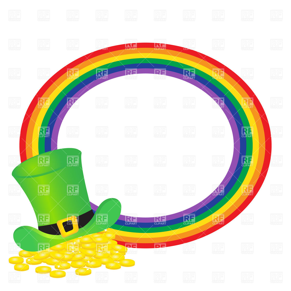 1200x1200 Hat Of Leprechauns Gold And Round Rainbow Royalty Free Vector Clip