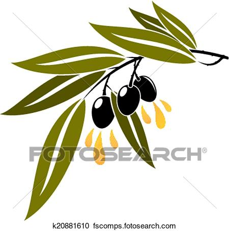 450x454 Clipart Of Black Olives On A Branch Dripping Olive Oil K20881610