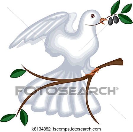 450x446 Clipart Of The Dove With Olive Branch K8134882