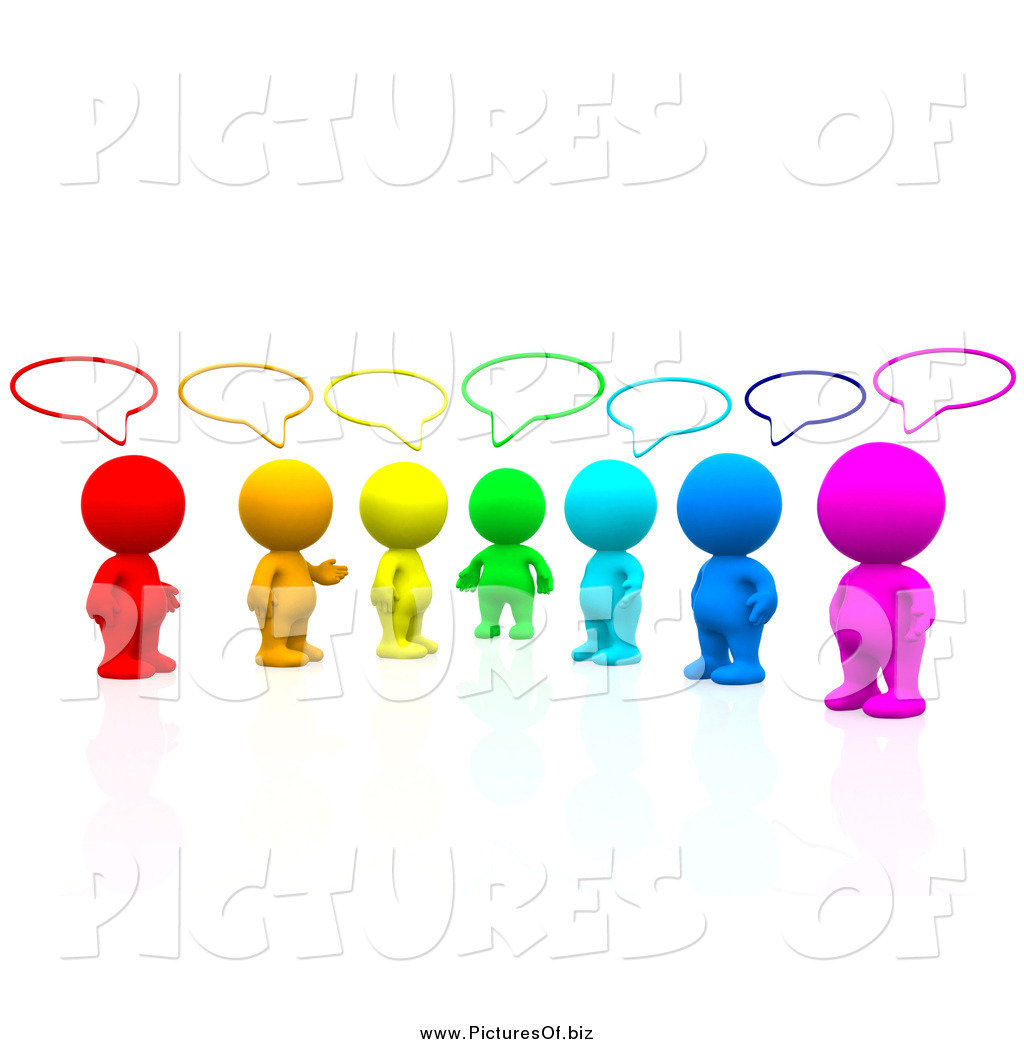 1024x1044 Clipart Of A 3d Colorful People Talking In A Social Group By