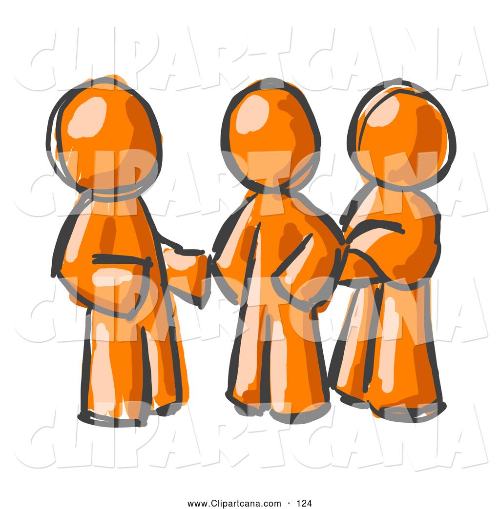 1024x1044 Clip Art Of A Trio Of Painted Orange Men Talking