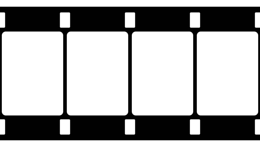 852x480 Film Strip Moveing On White Background. Seamless Loopable Black