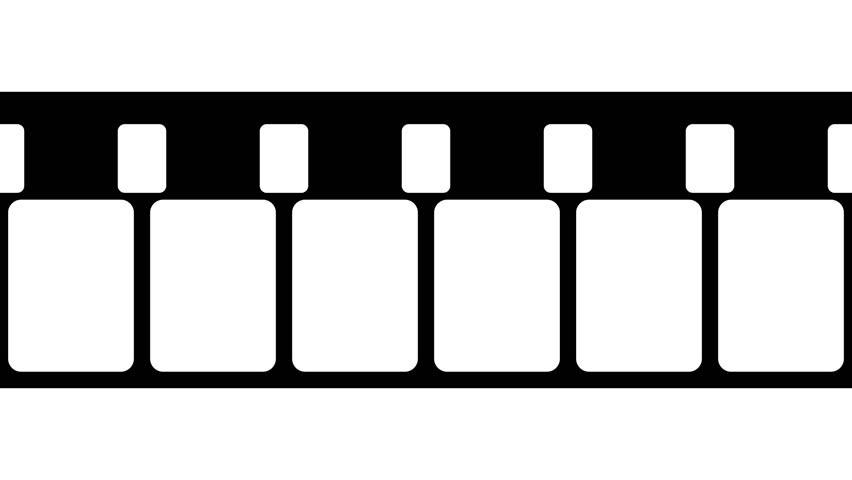 852x480 Super 8mm Film Strip Moveing On White Background. Seamless