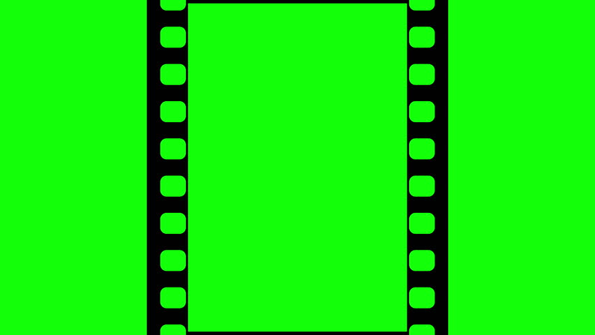 852x480 35mm Film Strip Moveing On Green Background. Seamless Loopable