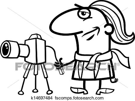 450x337 Clipart Of Photographer Cartoon Coloring Page K14697484