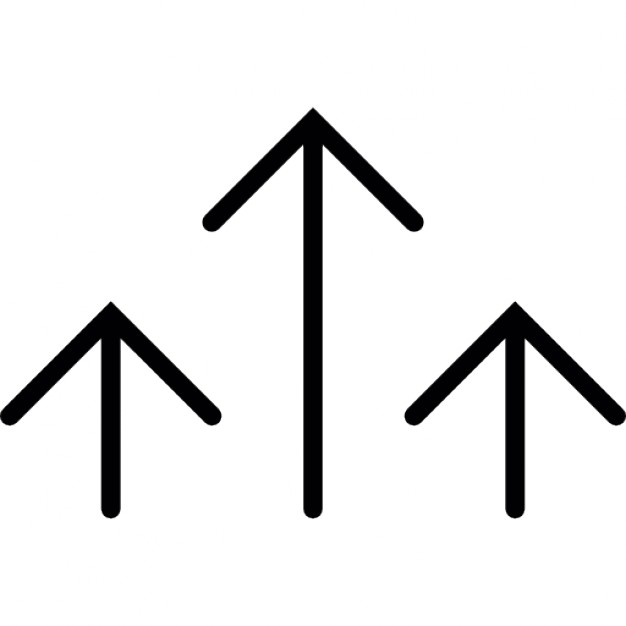 626x626 Arrows Thin Lines In A Group Of Three In Vertical Position