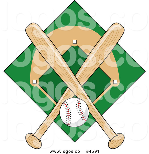 600x620 Royalty Free Baseball Field And Ball With Two Bats Logo By Pams
