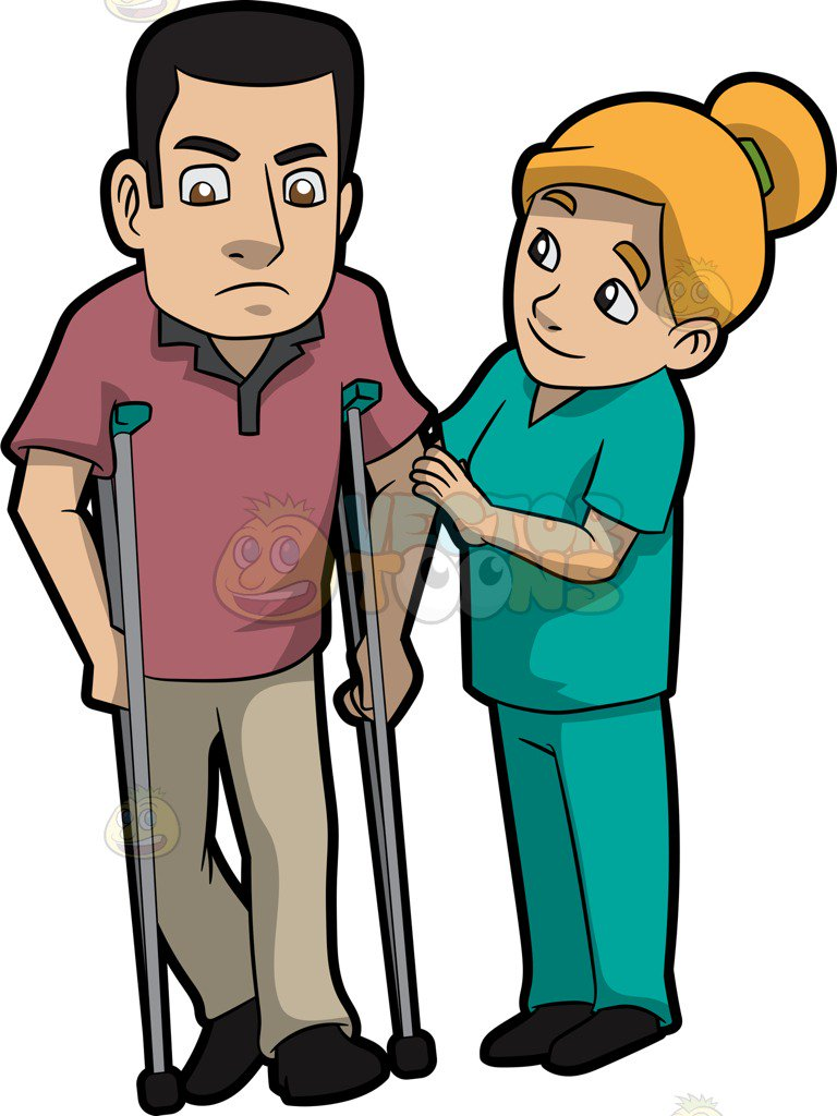 768x1024 A Female Physical Therapist Helping A Male Patient Walk Cartoon