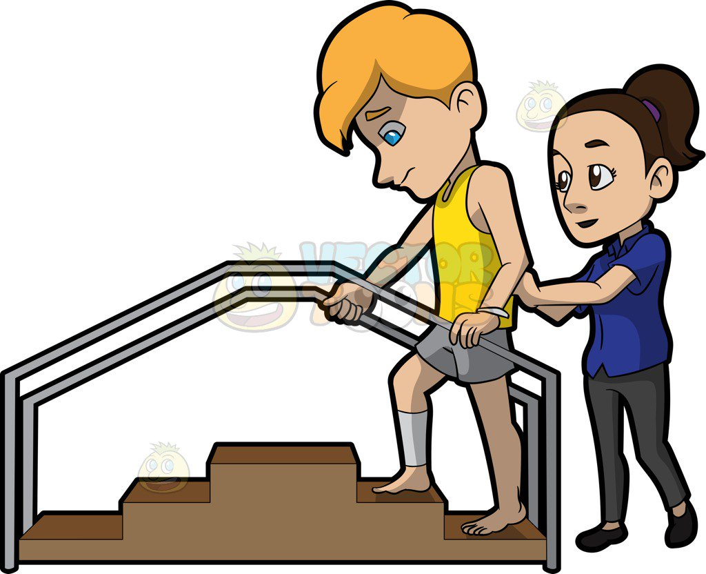 1024x832 A Female Physical Therapist Helping A Man Climb The Steps Cartoon