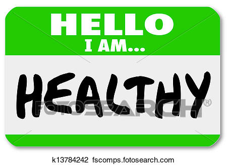 450x328 Clip Art Of Hello I Am Healthy Words Nametag Sticker Physical