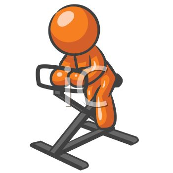 350x350 Orange Man Character Mascot Doing A Physical Fitness Work Out