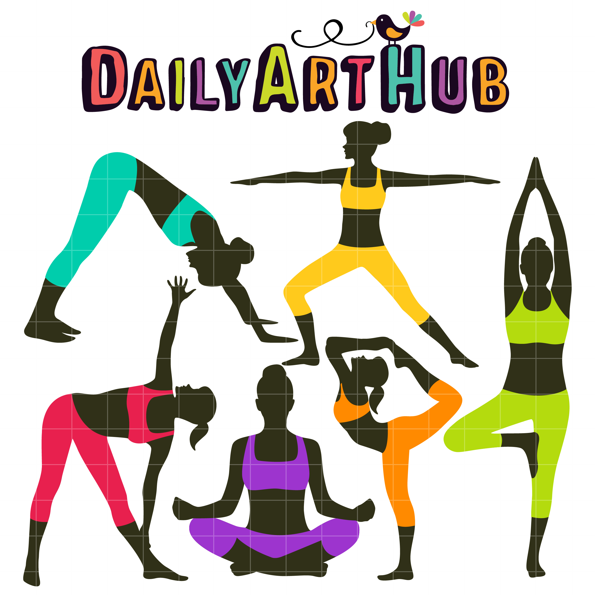 2500x2500 Yoga Poses Clip Art Set Daily Art Hub