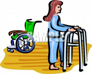 300x242 Woman In Physical Therapy Leaving Her Wheelchair For A Walker