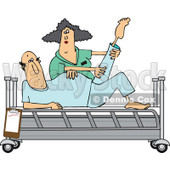 170x170 Clipart Of A Caucasian Male Nurse Helping A Guy Patient Stretch