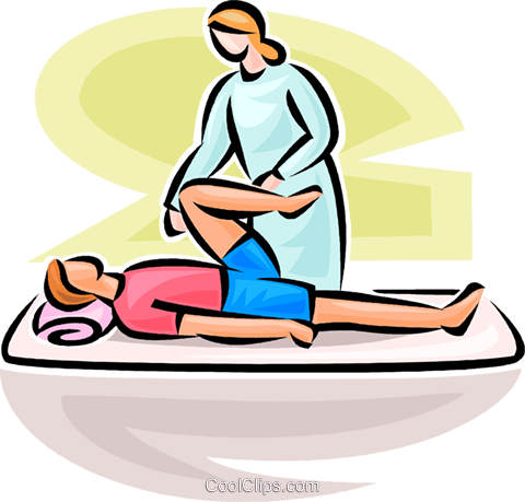 480x459 Man Receiving Physiotherapy Royalty Free Vector Clip Art