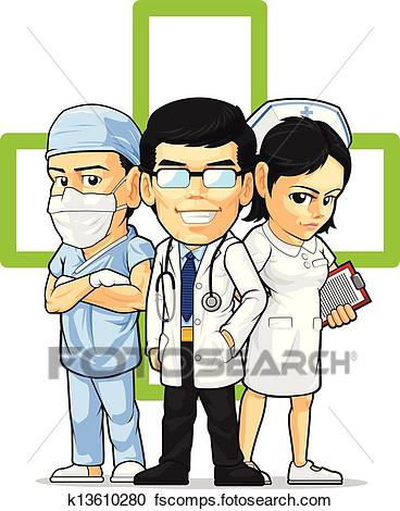 368x470 Clipart Of Doctor, Nurse, Amp Surgeon K13610280