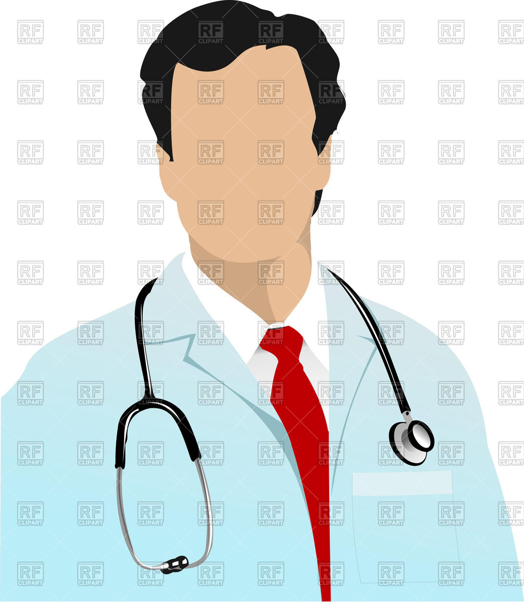 1046x1200 Physician With Stethoscope On Neck Royalty Free Vector Clip Art