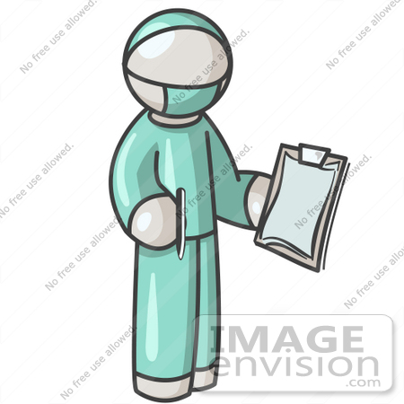 450x450 Clip Art Graphic Of A White Guy Character Surgeon In Scrubs