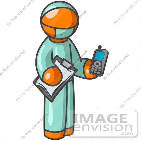 450x450 Clip Art Graphic Of An Orange Guy Character Doctor Holding A Cell