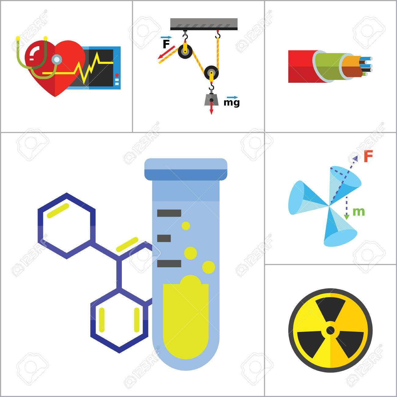 1300x1300 Physics Icon Set. Galaxy Radiation Sign Substance In Test Tubes