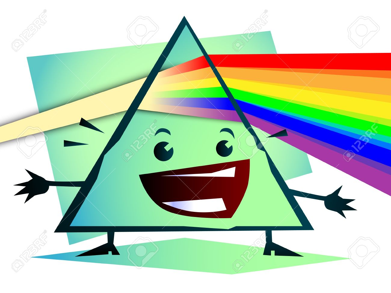 1300x975 Cartoon Newton Prism With Rainbow Royalty Free Cliparts, Vectors