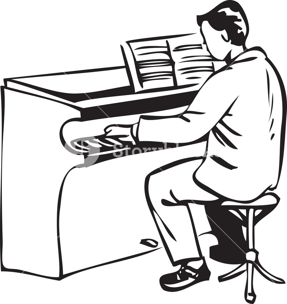 943x1000 Illustration Of A Man Playing Piano. Royalty Free Stock Image