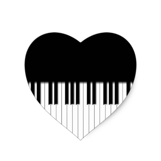540x540 Piano Keys Black Amp White Heart Sticker