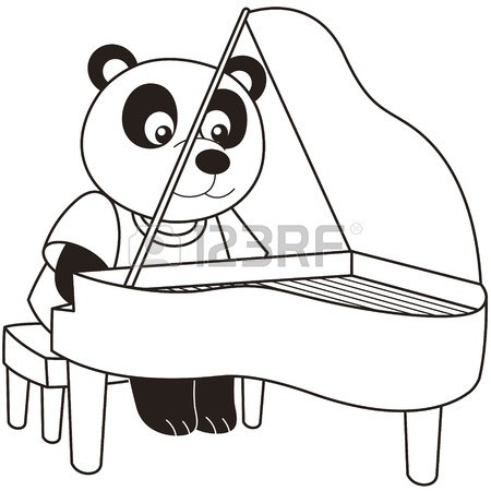 450x450 Cartoon Elephant Playing A Piano Black And White Royalty Free