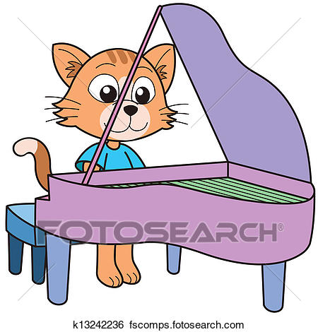 450x470 Clip Art Of Cartoon Cat Playing A Piano K13242236