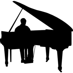 300x300 Woman Grand Piano Notes Cartoon Piano Clip Art Free Vector