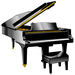 288x288 Woman Grand Piano Notes Cartoon Piano Clip Art Free Vector 3