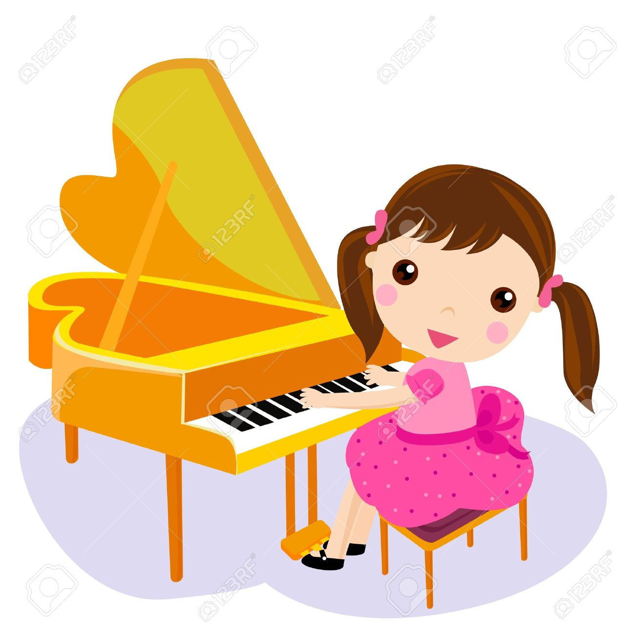 1300x1300 Girl Play The Piano. Cartoon Vector Illustration Royalty Free