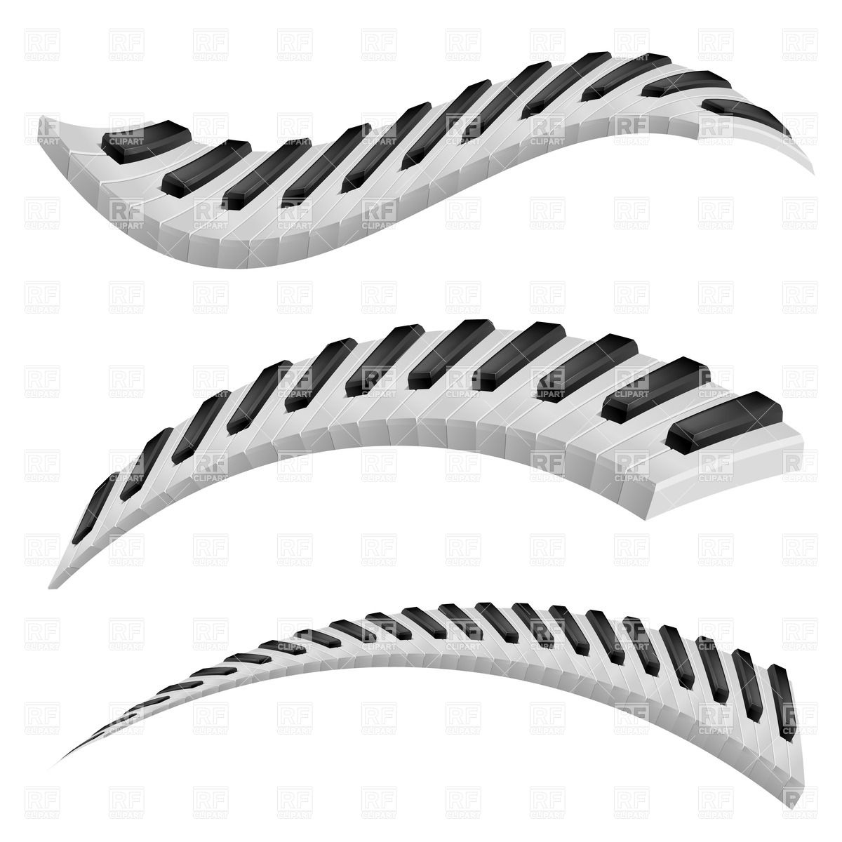 1200x1200 Wavy Piano Keys On White Background Royalty Free Vector Clip Art