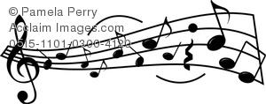 300x118 Clip Art Image Of A Sheet Music Design