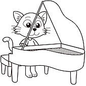 170x170 Clip Art Of Cartoon Cat Playing A Piano K13243317