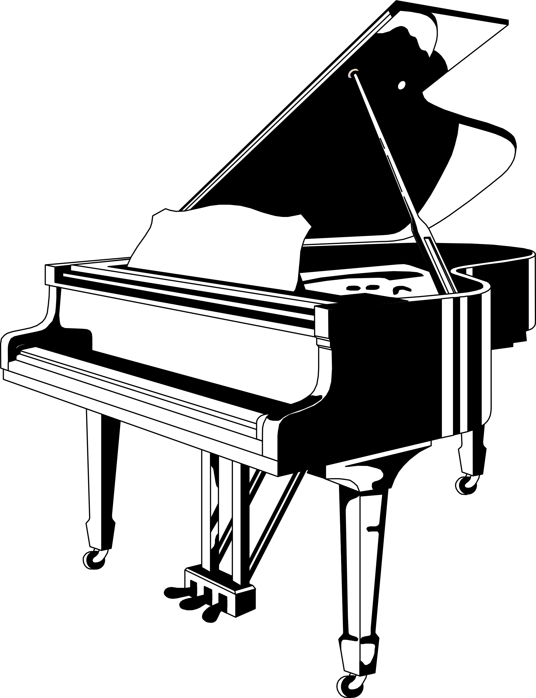 1845x2400 Piano Clip Art Black And White Free Clipart Images