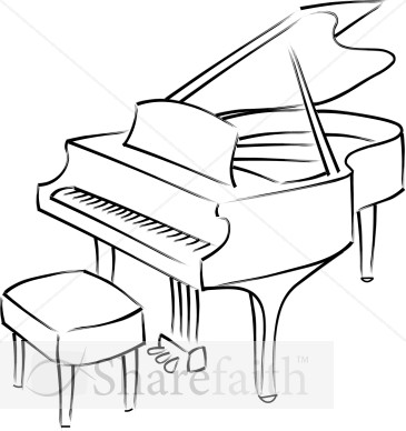 365x388 Baby Grand Piano Line Art Church Music Clipart