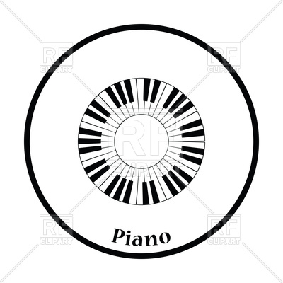 400x400 Thin Circle Design Of Piano Circle Keyboard Icon Royalty Free