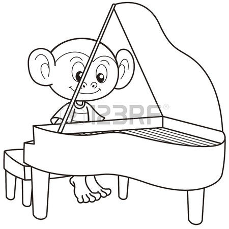 450x450 Cartoon Monkey Playing An Accordion Black And White Royalty Free
