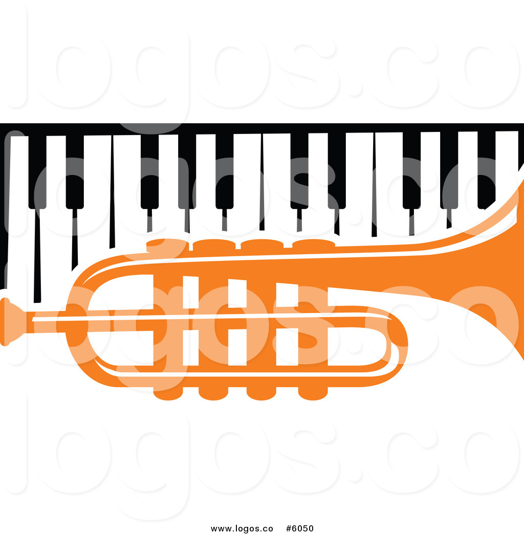 1024x1044 Royalty Free Vector Of A Logo Of An Orange Trumpet Over A Piano