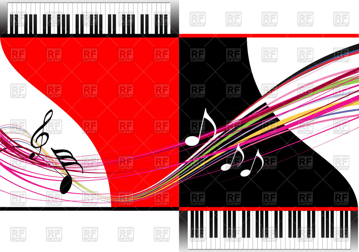 1200x843 Musical Background With Piano Keyboard Royalty Free Vector Clip