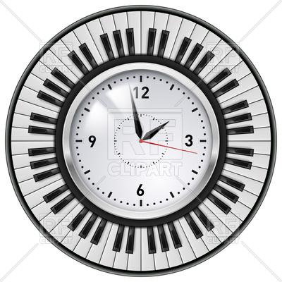 400x400 Piano Keys Around The Office Wall Clock Royalty Free Vector Clip