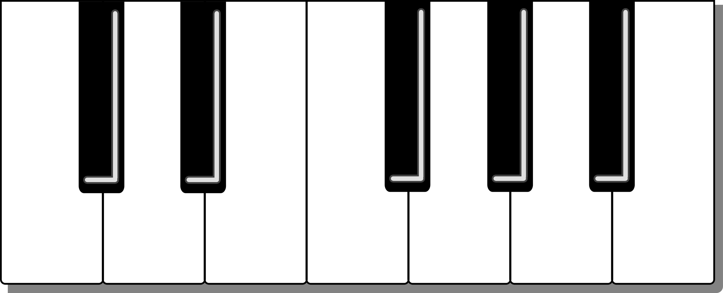 2400x975 Piano Keyboard Clipart