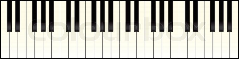 800x200 Piano Keyboard With Black And White Keys Illustrated Stock